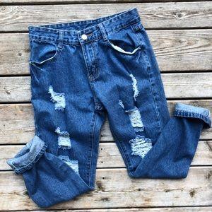 Denim - Dark blue boyfriend jeans